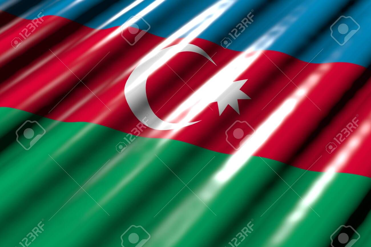 Cute National Holiday Flag 3d Illustration Shiny Looking Like Plastic Flag Of Azerbaijan With Big Folds Lying Fl Holiday Flag Neon Signs Design Inspiration