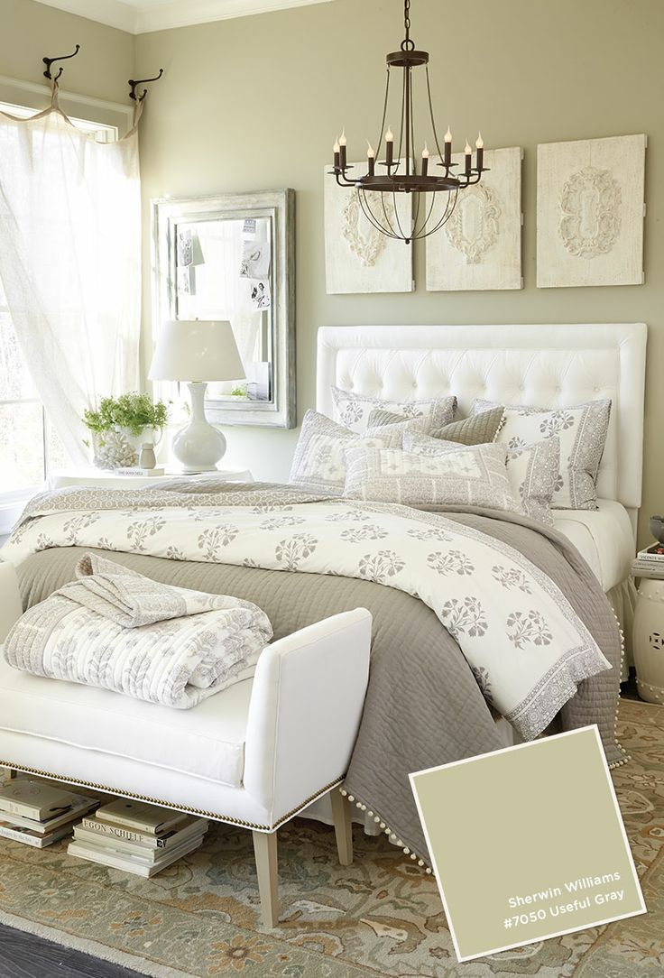 Awesome Bedroom Shade Chandelier Over White Bedding Ideas With Black Wooden Base Bed Frames As Gray Master Bedroom Remodel Bedroom Bedroom Paint Colors Master