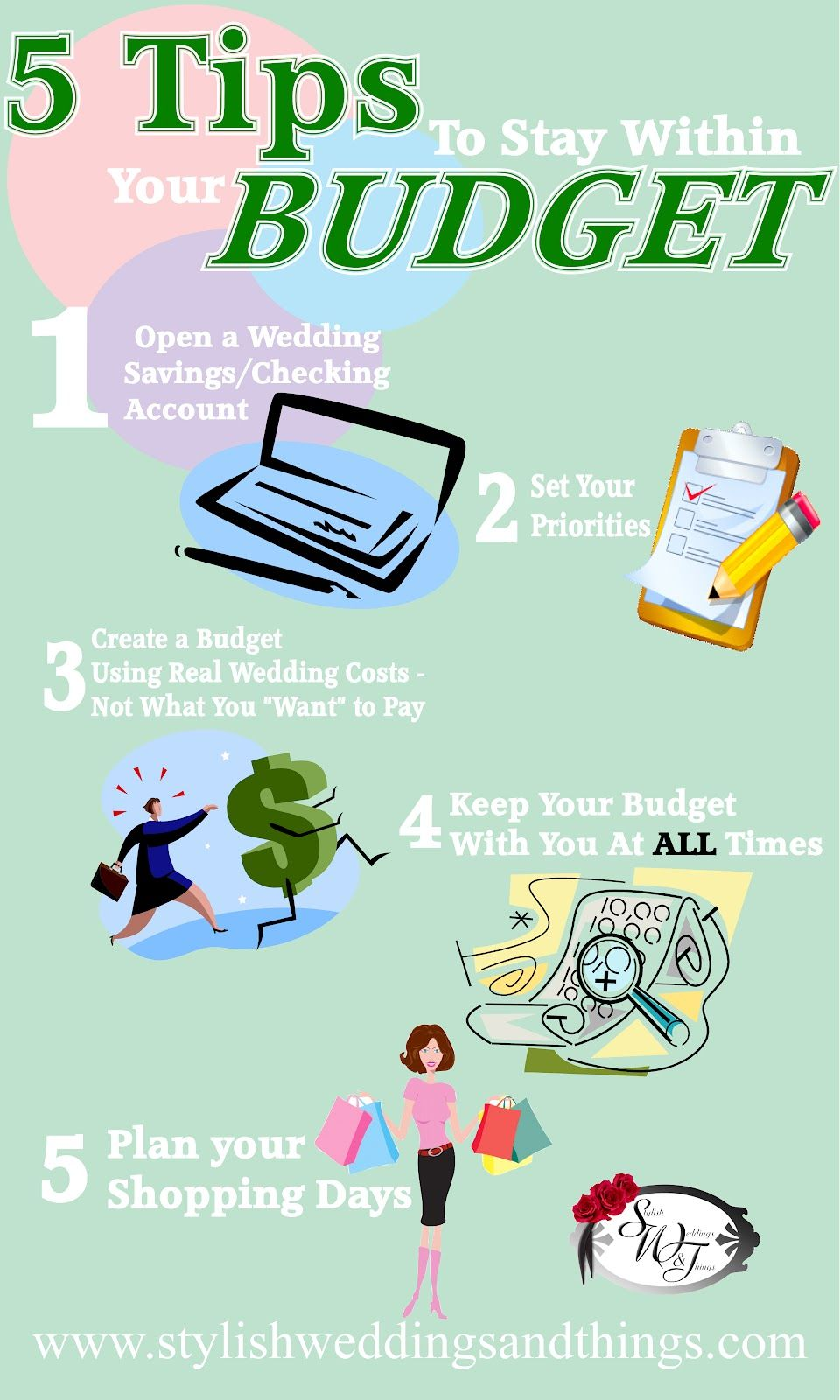 My first infographic. Brides 5 Tips to Stay Within Your