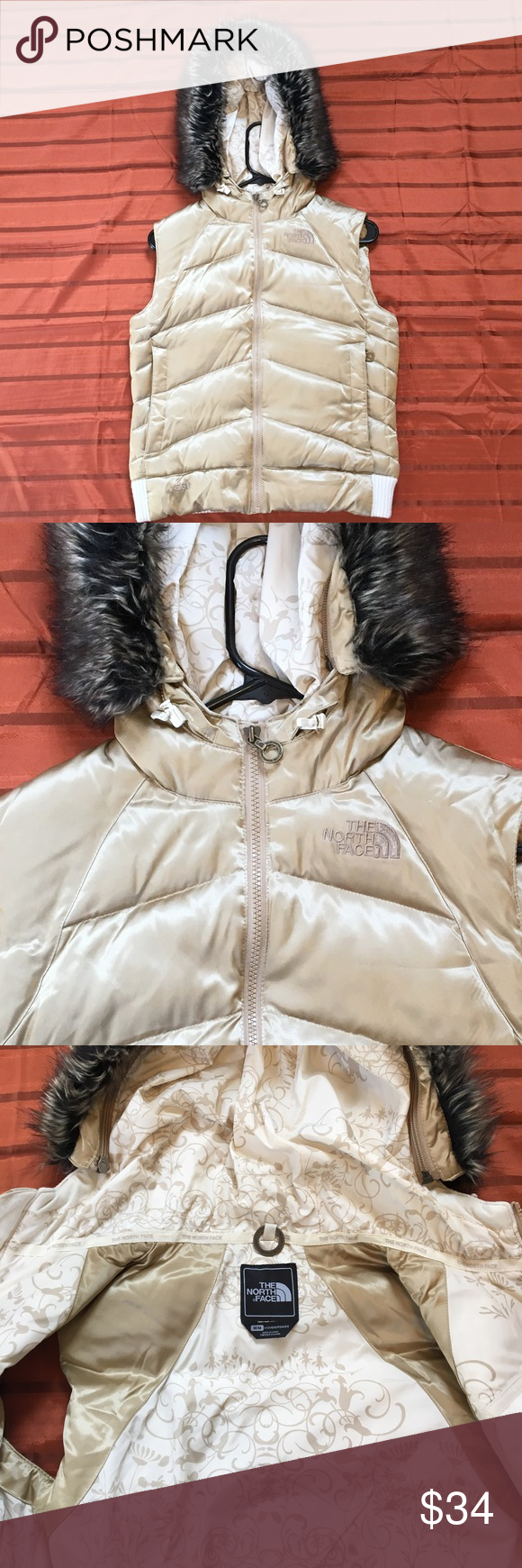 The North Face gold puffer vest jacket with hood Fashion