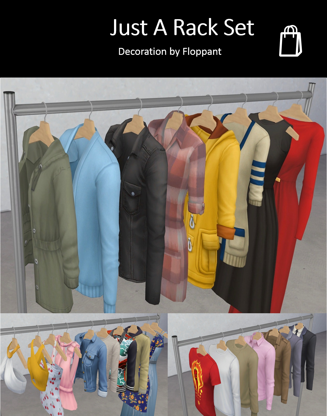 Just A Rack Set By Floppant Via Tumblr Retail Fashion Store Bcg Sims 4 Ts4 Maxis Match Mm Cc Pin By Sueladysims Sims 4 Maxis Match Sims