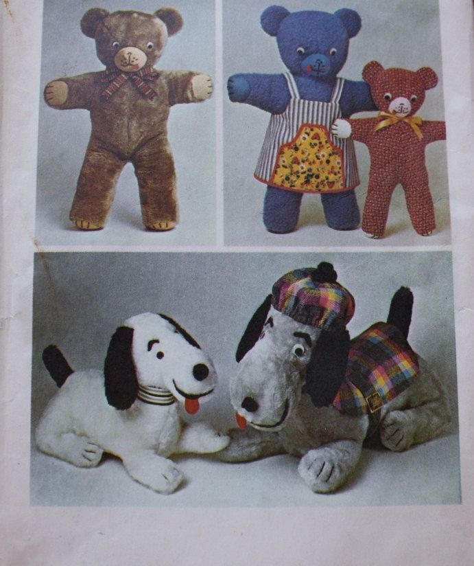 Simplicity 6062 Stuffed Animals Pattern Teddy Mama Baby Bear Snoopy ...