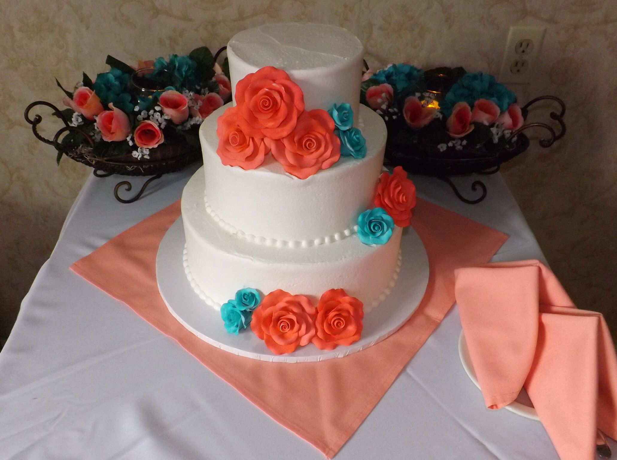 Coral and teal wedding cake | Coral and Teal Weddings | Pinterest ...