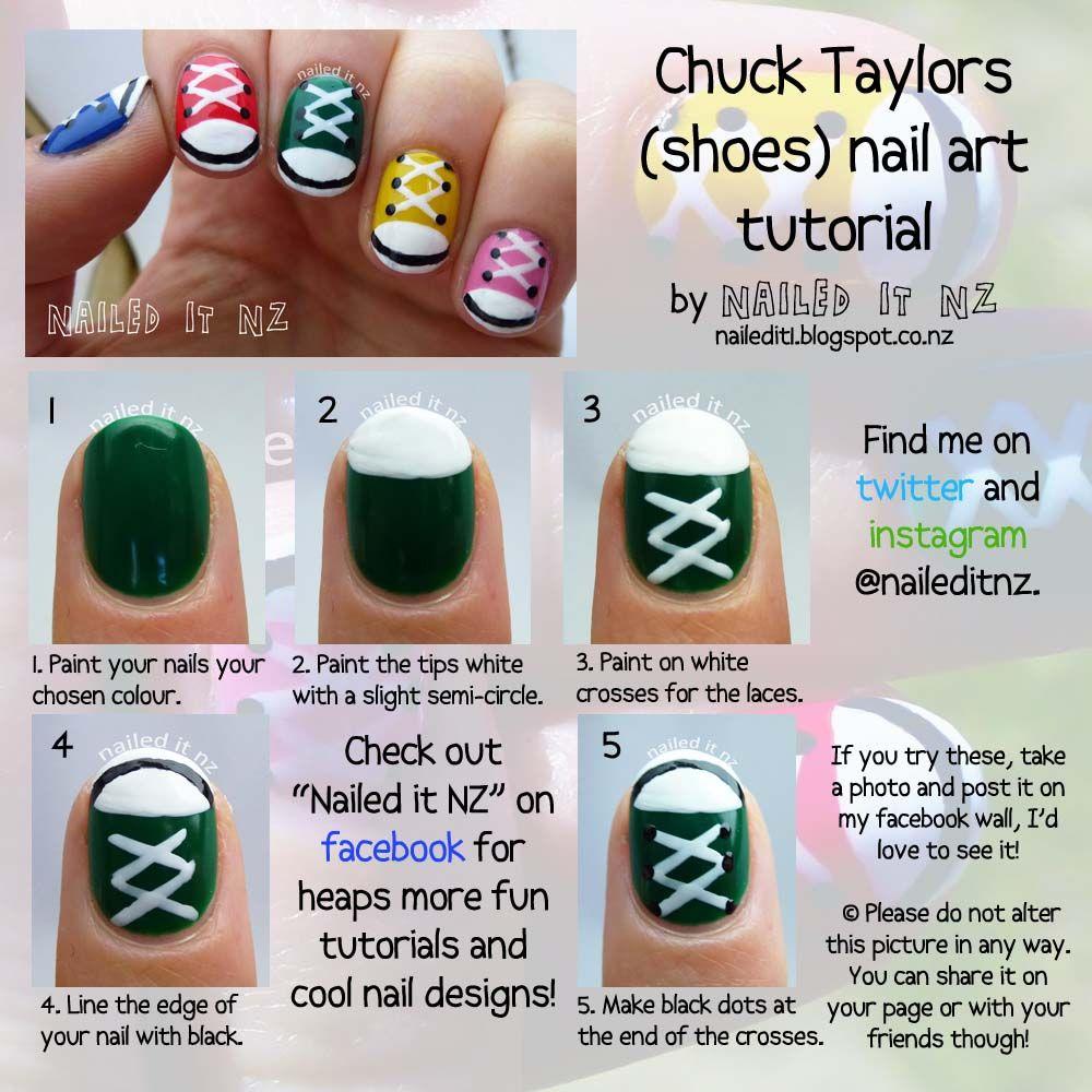 Nail art for short nails #9 - Chuck Taylors/shoe nails!\