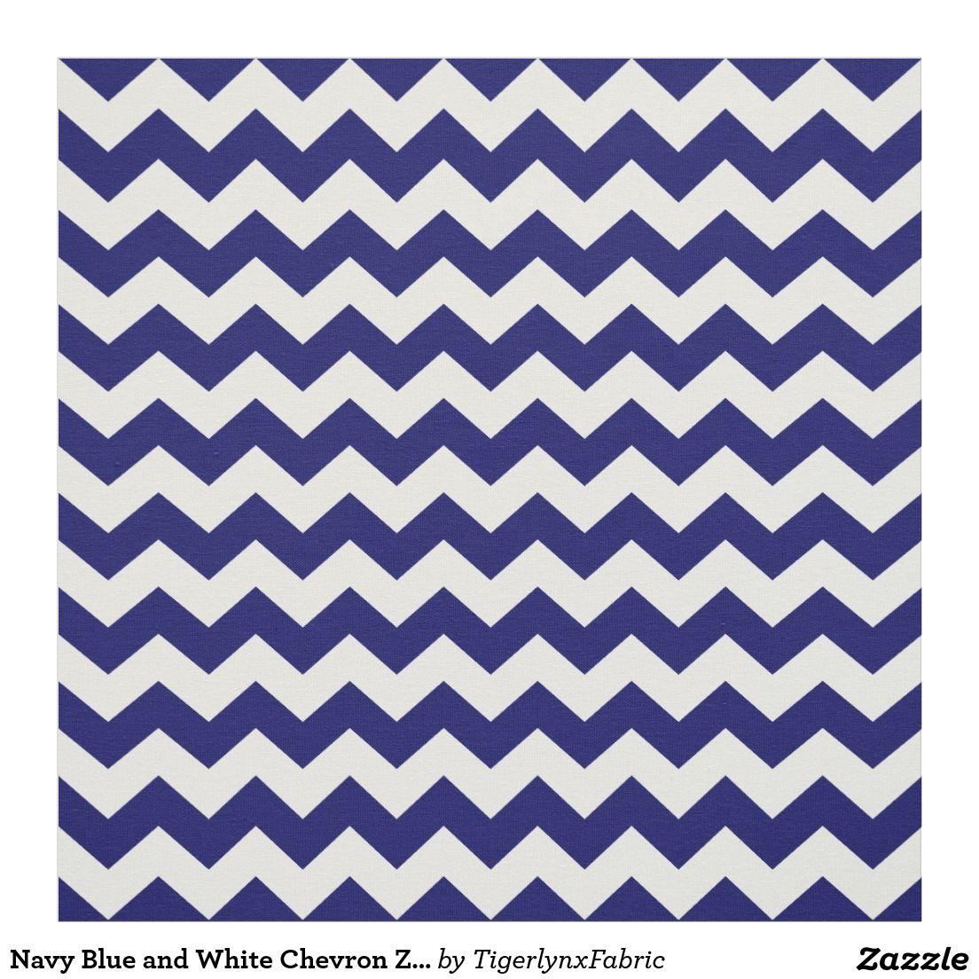 Navy Blue and White Chevron Zigzag Pattern Fabric | Chevron fabric ...