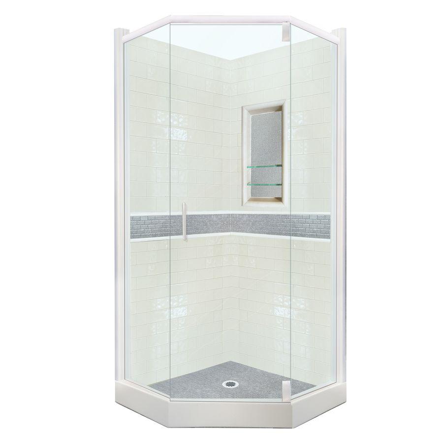 corner shower kits 36 x 36. American Bath Factory Chelsea Glossy Bone White With Granite Look Liner In  Grey Sistine Stone Wall And Composite CC NS C Corner Shower KitsCorner
