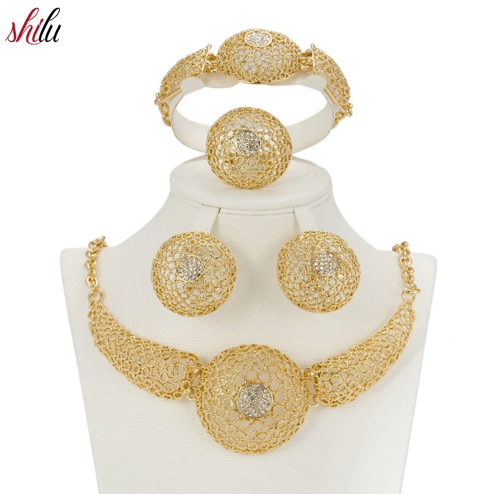 Shilu women african beads jewelry sets gold color statement necklace