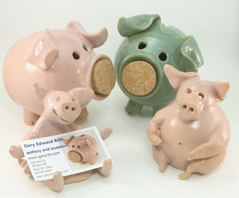 Piggy Banks And Card Holder By Gary Rith Piggy Bank Cool Things To Make Pig
