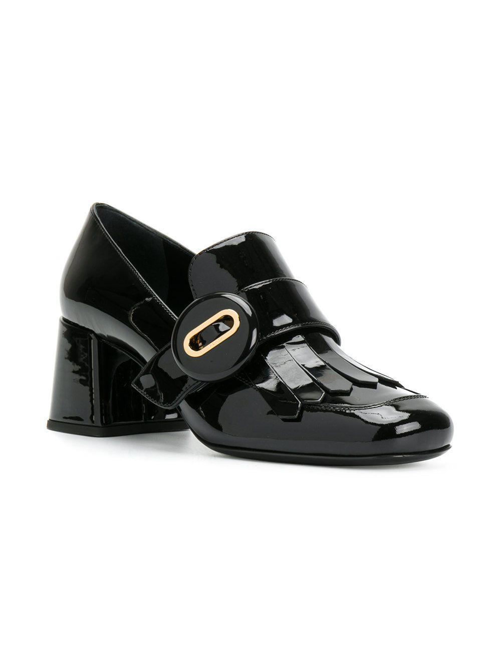 2adad9f0 Prada Patent Leather Heeled Loafers | maiko in 2019 | Block heel ...