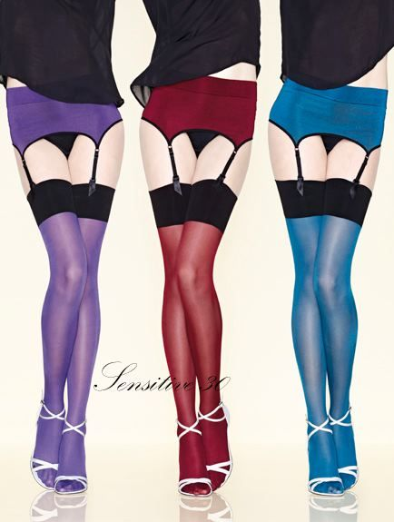 2bbeba6a1f6 Sensitive Stockings in bright colors with matching suspender belts from  French hosiery brand Gerbe