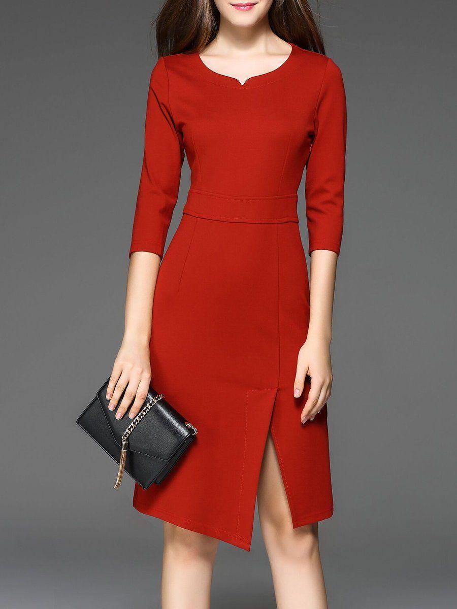 Shop Midi Dresses Elegant Sheath Solid 3 X2f 4 Sleeve Work Dress Online Discover Unique Designers Fashio Casual Work Dresses Dresses For Work Bodycon Dress [ 1200 x 900 Pixel ]