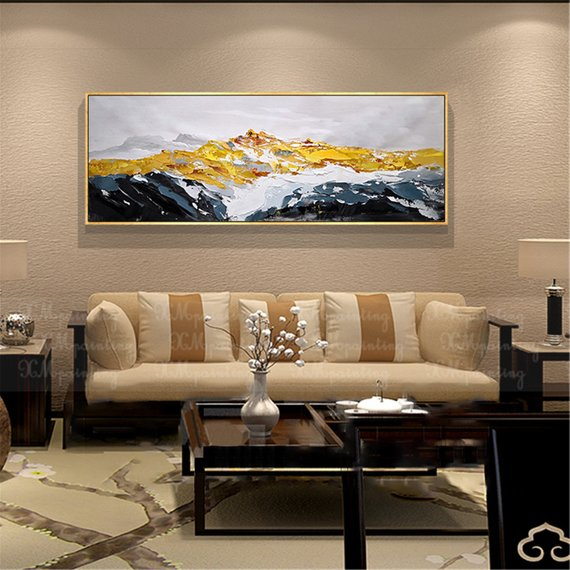 gold art abstract painting wall art pictures for living on modern acrylic paintings for living room id=68339