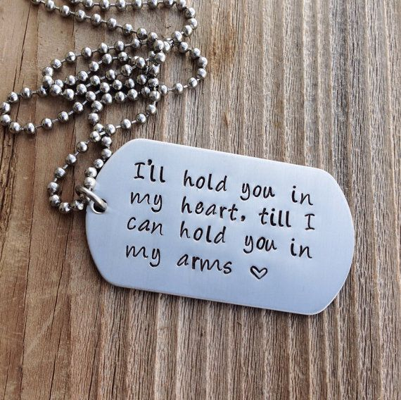 Custom Dog Tag Long Distance Relationship Hand Stamped Jewlery