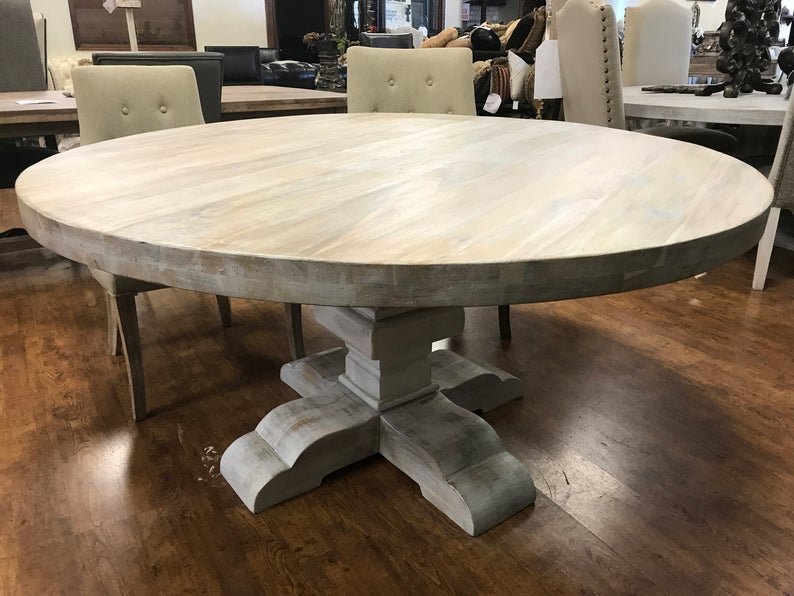 Rustic White Wash Solid Wood Round Pedestal Dining Table Etsy Round Dining Room Table Round Wood Dining Table Round Pedestal Dining Table Solid wood round dining table