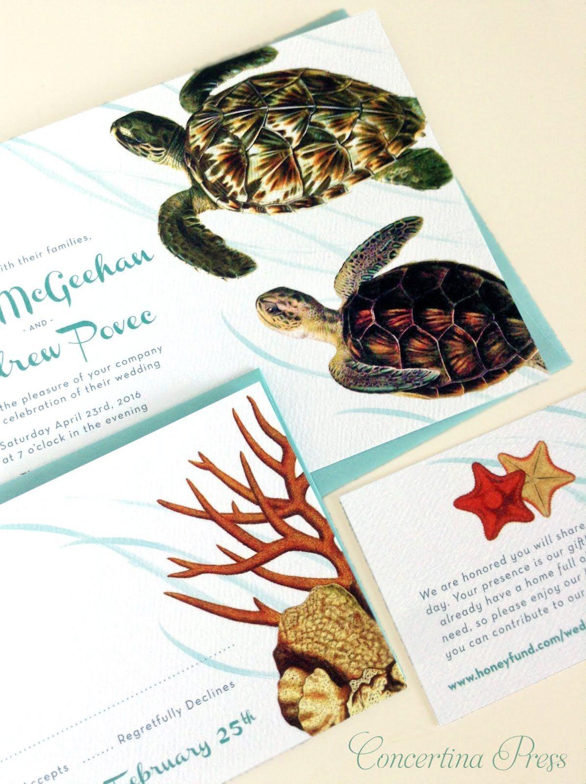 Sea Turtle Aquarium Wedding Invitations | Aquarium Wedding ...