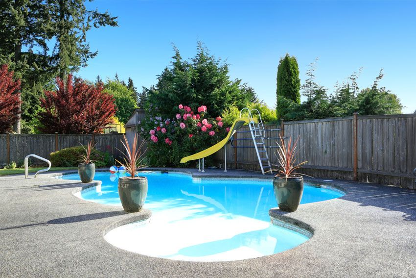Rounded Swimming Pool With Slide Beautiful Small Inground Pool Cost Average  Backyard