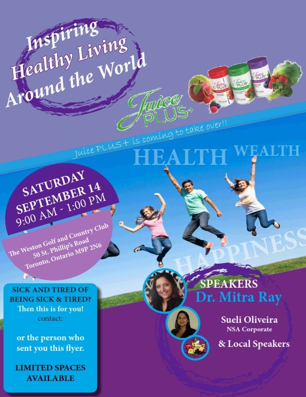 For more information about our Juice PLUS+ events please contact our Juice PLUS+ support team at info@juicepluscanada.com
