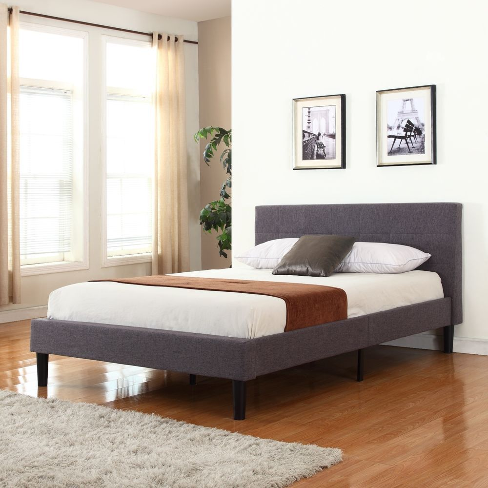 Grey Linen Fabric Upholstered Platform Bed with Wooden Slats, Twin ...