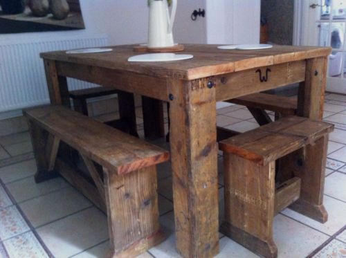 british-made-in-legno-massello-rustico-recuperata-tavolo-da-pranzo ... - Tavolo Cucina Legno Massello