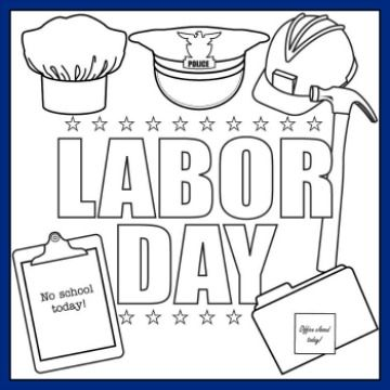 Printable Labor Day Coloring Page and Song For Kids Heres