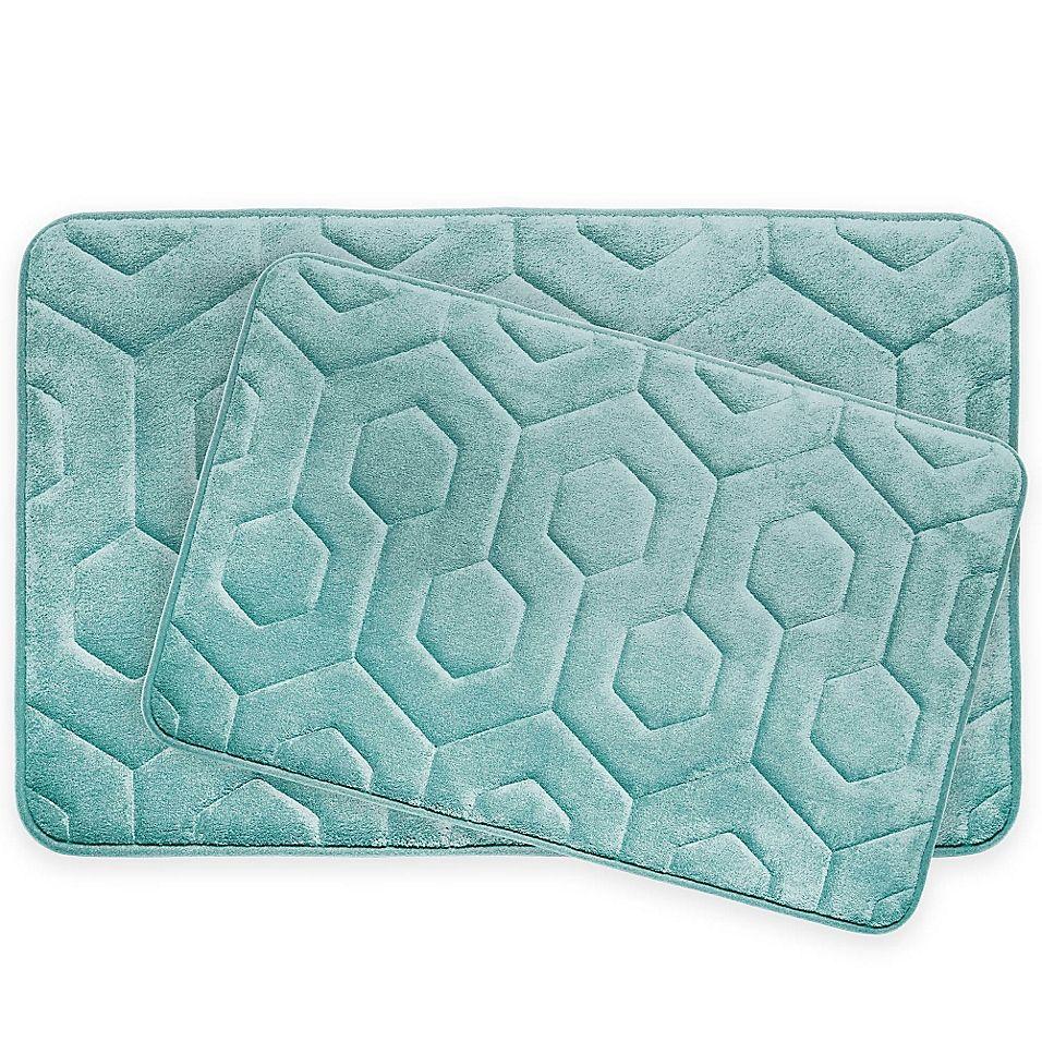 Bounce Comfort Hexagon Memory Foam 2 Piece Bath Mat Set In Aqua