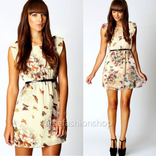 Womens Belted Floral Butterfly Print Party Cute Summer Skater Swing Mini Dress
