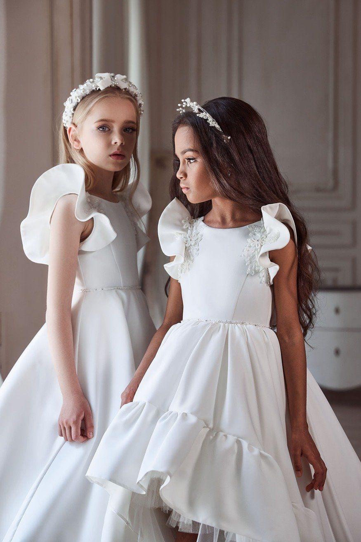 Flower Girl Dresses 3107 Satin Dress With Flared Sleeves In 2021 Elegant Flower Girl Dress Girls First Communion Dresses Girls Communion Dresses [ 1313 x 875 Pixel ]