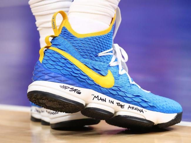 41e6fd1fa69 LeBron James wore blue and yellow sneakers against the Pistons the other day.  Maybe it was a secret message to the Warriors  Come on man.