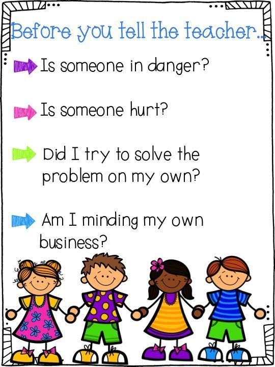 Tattle Tongue: {Free} Poster to discuss when to tell a teacher ...