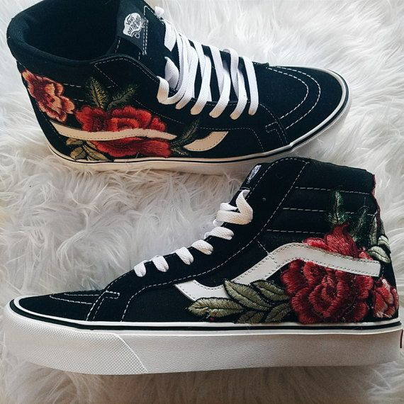 Unisex custom rose floral embroidered patch vans sk hi