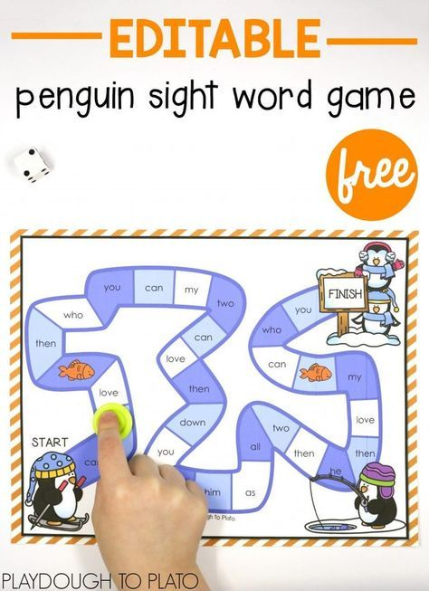 Penguin Sight Word Game January Sight Word Games Sight Words