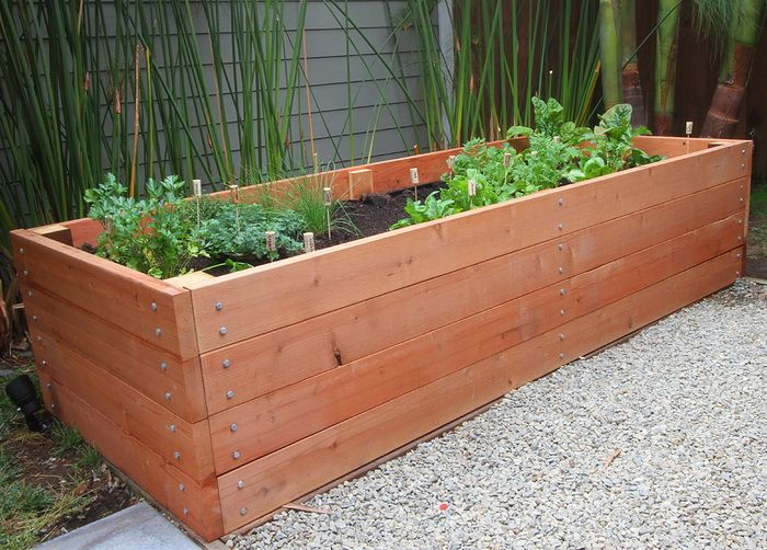 Huge garden planter box made of redwood and 8 39 feet long for Garden box landscape and design