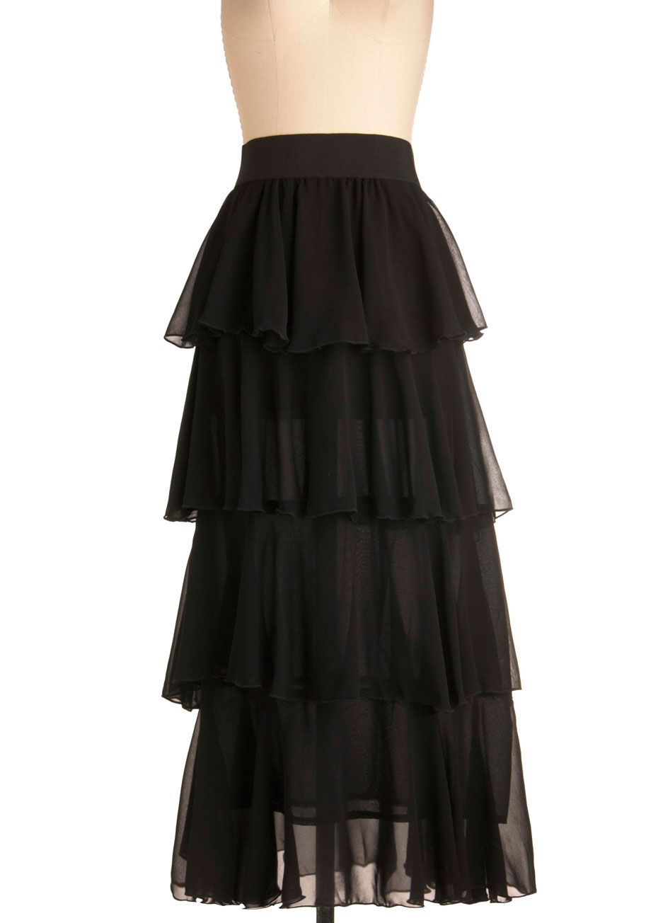grand tier skirt black solid tiered formal