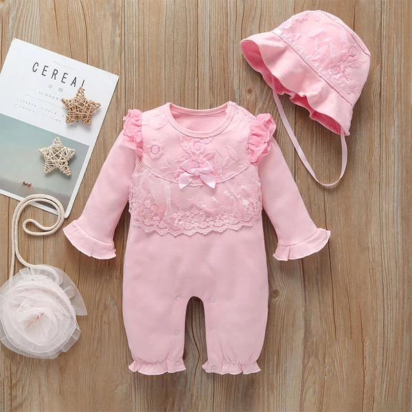 Newborn Baby Girl Clothes Long Sleeve Ruffle Romper Jumpsuit Bodysuit Outfit Set