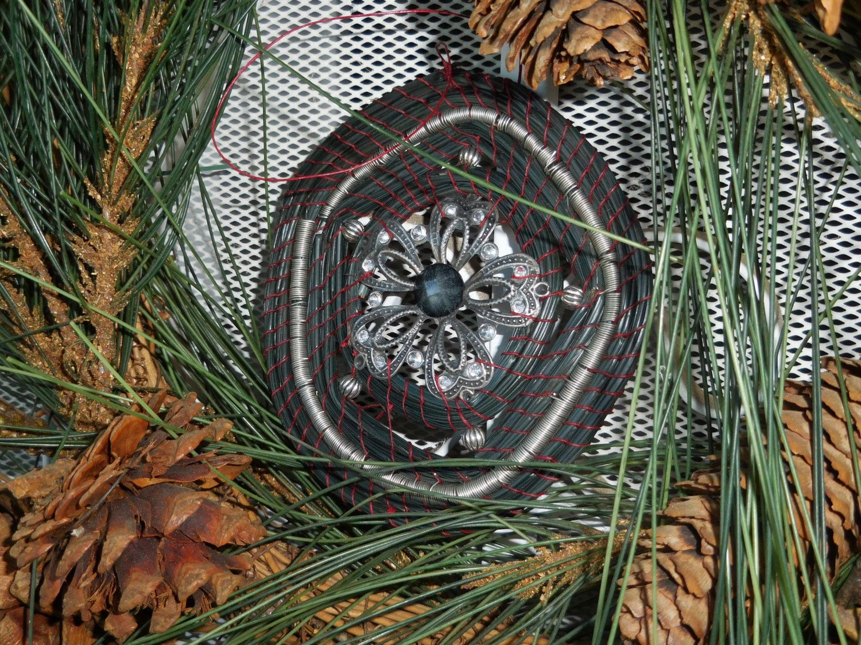 Pine Needle Basket Black Sun Catcher Ornament W Silver Vintage Laced Flower Center Pine Needle Baskets Pine Needles Flower Center