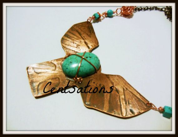 Fly Away Copper Necklace with Turquoise Beads by Centsations, $50.00