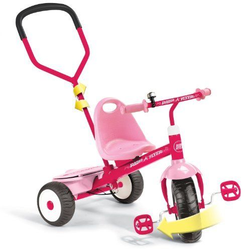 Radio Flyer Girls Deluxe Steer And Stroll Trike Pink With