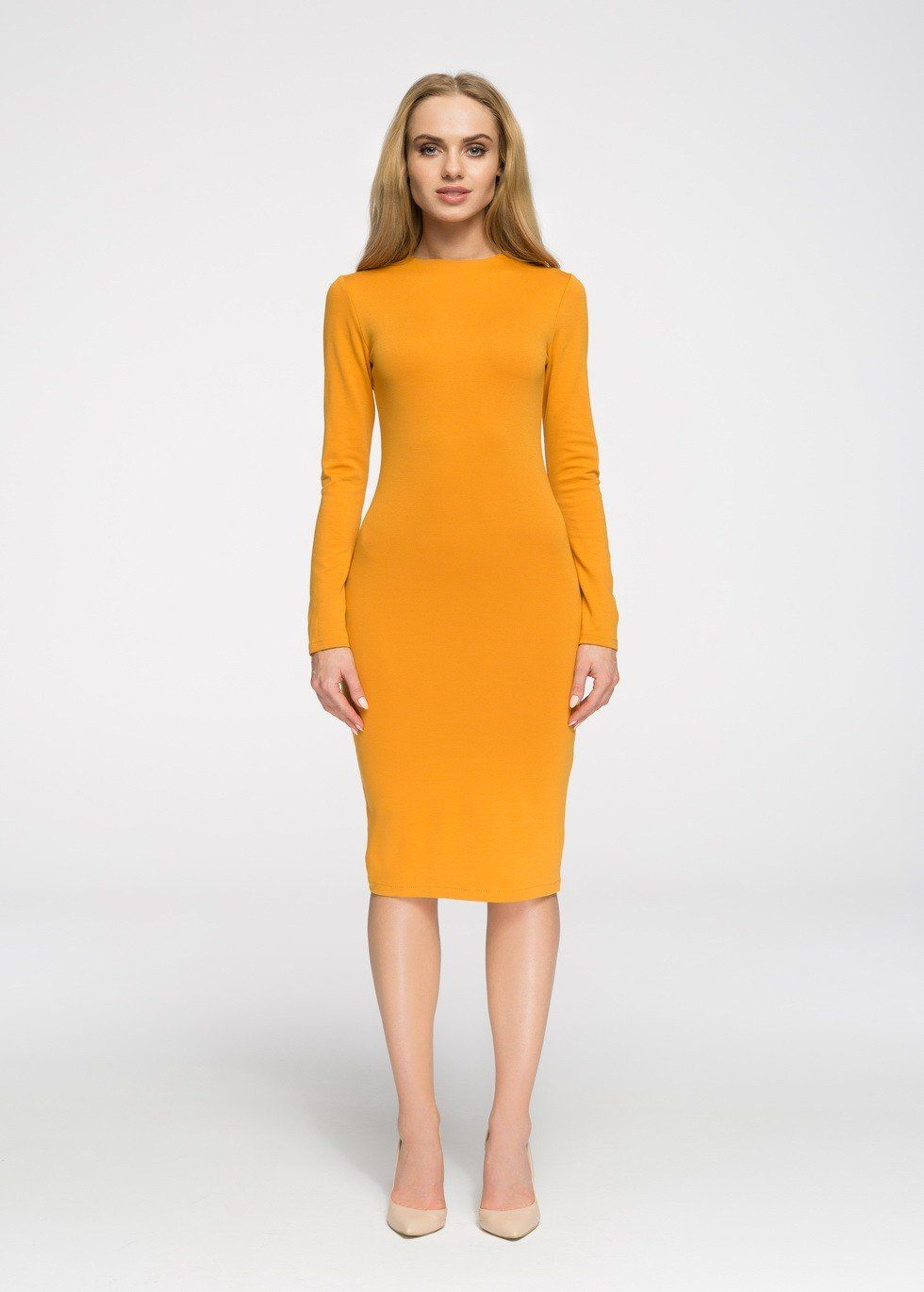 Fitted Dress With Long Sleeves Mustard Yellow Bodycon Dress Knit Midi Dress Dresses [ 1370 x 980 Pixel ]