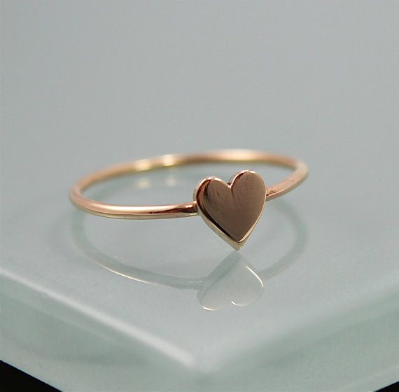 Tiny Valentine Heart Ring 14k Solid Gold 1mm Band With 14k Gold Hand
