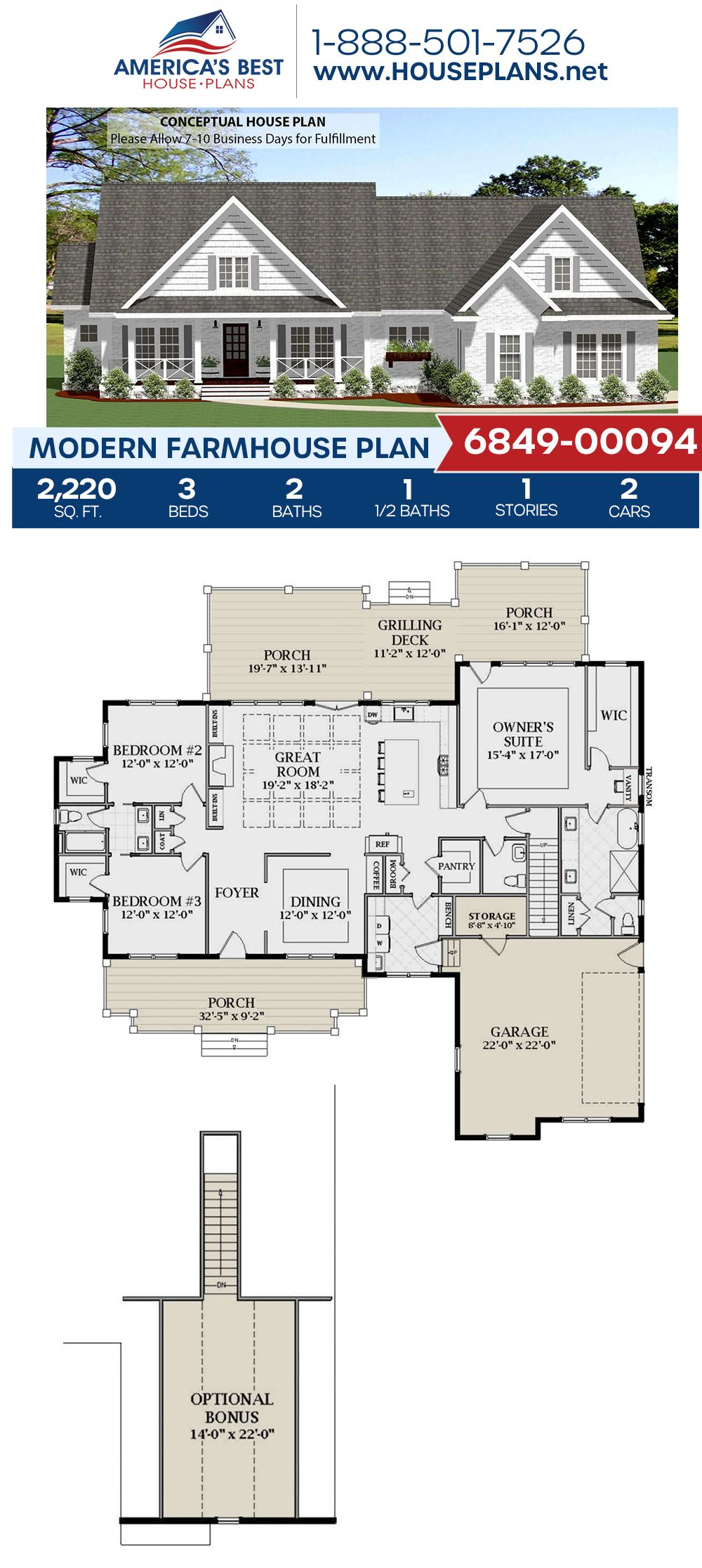 House Plan 6849 00094 Modern Farmhouse Plan 2 220 Square Feet 3 Bedrooms 2 5 Bathrooms House Plans Farmhouse Modern Farmhouse Plans Farmhouse Plans