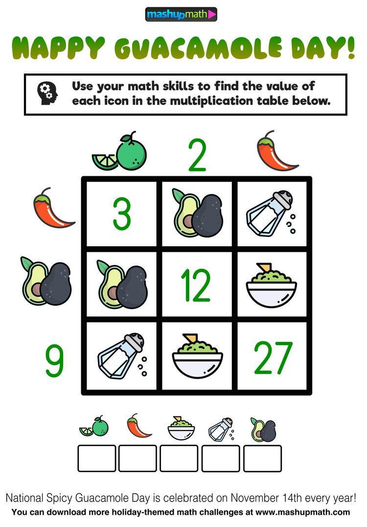Celebrate National Guacamole Day With These Free Math Puzzles Mashup Math Math Challenge Maths Puzzles Math [ 1076 x 750 Pixel ]
