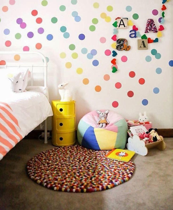 mommo design: WALL DECOR child's bedroom multi coloured spots.