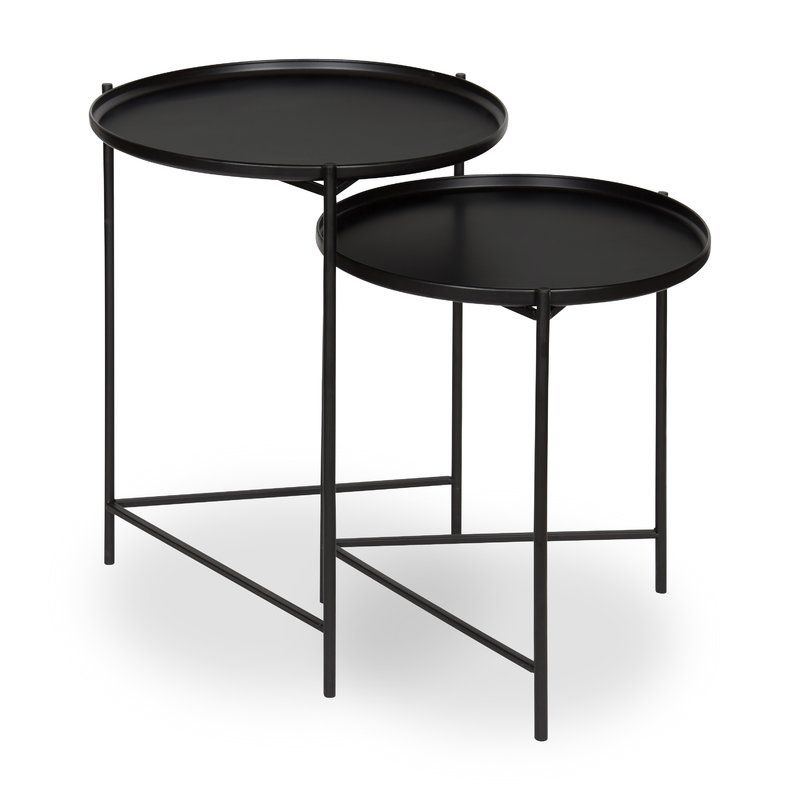 Petersburg Round Metal 2 Piece Nesting Tables Reviews Allmodern Nesting Tables Metal End Tables Small Accent Tables