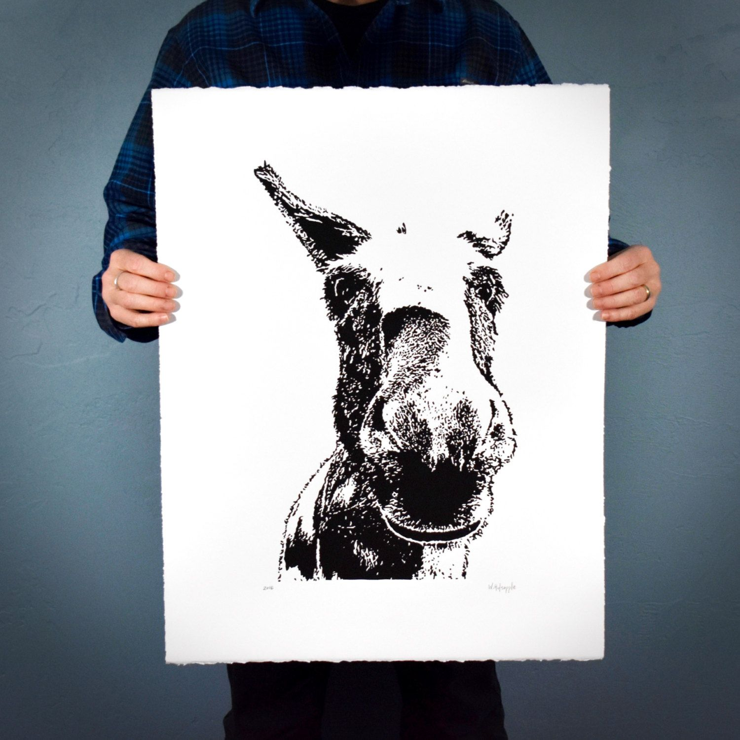 original donkey art print large hand pulled equine linocut by