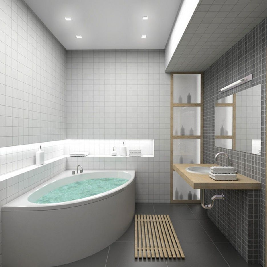 Teakwood Mat Above Black Ceramic With Modern Bathroom Designs For ...