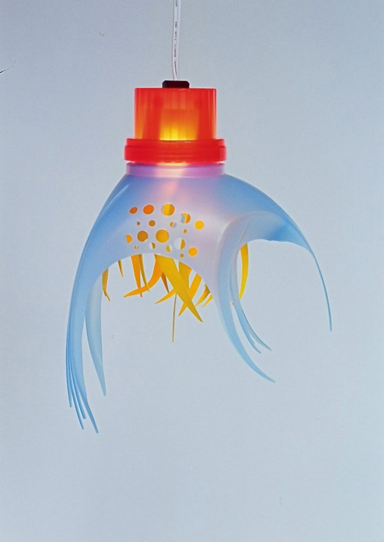 Lamp made of recycled plastic bottles
