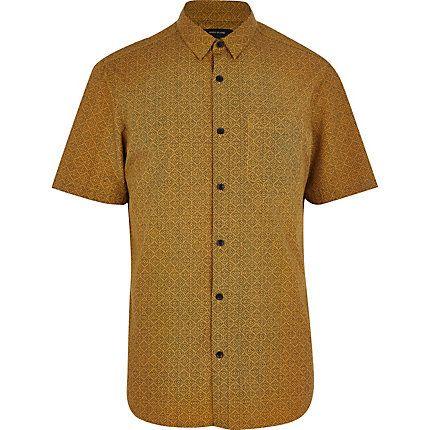 Mustard tile print short sleeve shirt