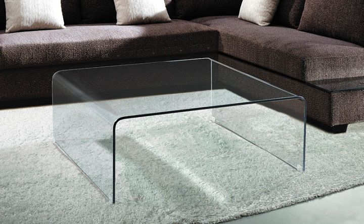 Square Bent Glass Waterfall Coffee Table Coffee Table Coffee