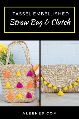 CUTE DIY summer clutch and beach tote - how to add trim and tassels a straw clutch and DIY straw tote. #Aleenes #TackyGlue #AleenesDIY #pompomtrim #pompoms #straw #totebag #tote #totesadorbs #yellow #strawbag #clutchpurse #cantclutchthis #clutch #summerfashion #fashionDIY #DIY #Crafts #handmade