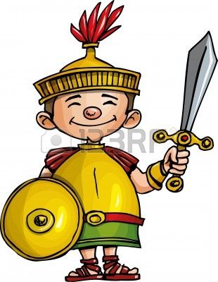 Legionario Romano De Dibujos Animados Con Espada Y Escudo Aislados En Blanco Roma Para Ninos Artesanias De Egipto Imperio Romano